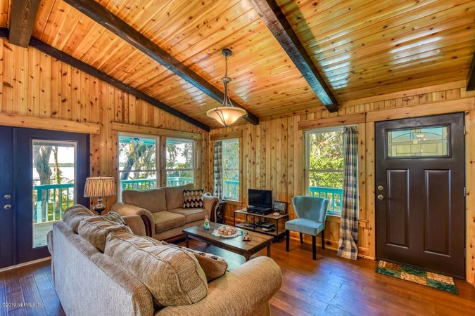 Living Area with Cedar Walls and Ceilings